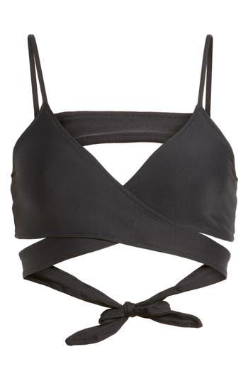 L Space Chloe Wrap Bikini Top, Black