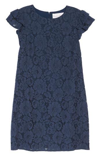 Women's Charles Henry Ruffle Shift Dress, Size X-Small - Blue