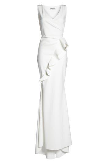 Chiara Boni La Petite Robe Keke Ruffle Front Surplice Gown, White