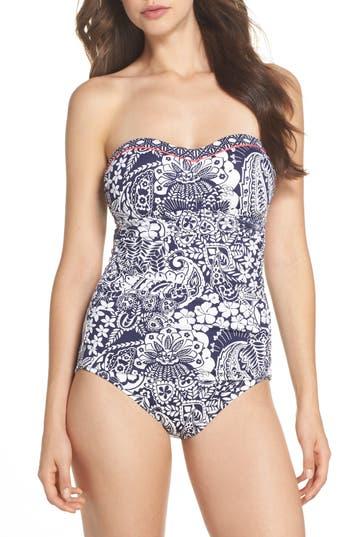 Tommy Bahama Paisley Paradise Bandeau One-Piece Swimsuit, Blue