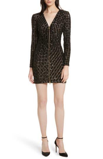 Self-Portrait Zip Front Sequin Minidress, Black