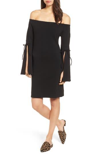 Bobeau Off The Shoulder Sheath Dress, Black
