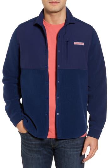 Vineyard Vines Snap Front Fleece Jacket, Blue