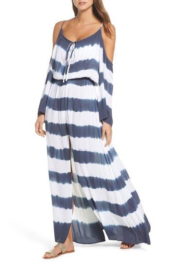 Elan Stripe Maxi Cold Shoulder Dress, Blue