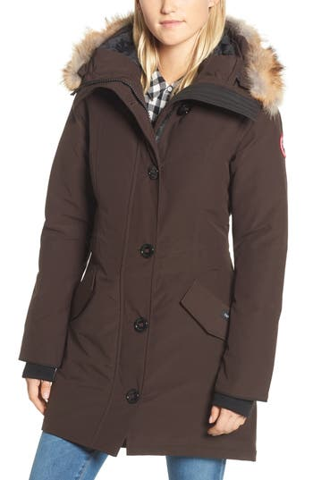 Canada Goose Rossclair Genuine Coyote Fur Trim Down Parka, (000-00) - Brown