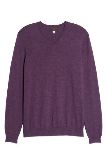 Thomas Dean Merino Wool Blend V-Neck Sweater, Purple