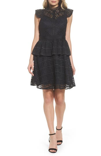 Chelsea28 Lace Fit & Flare Dress, Black