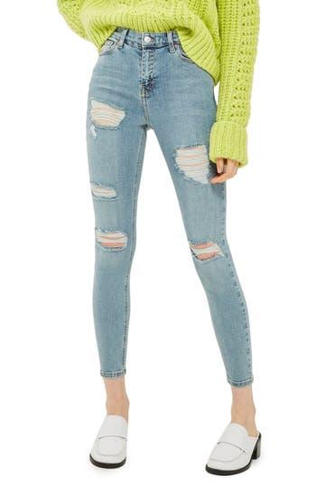 Women's Topshop Jamie Distressed Skinny Jeans, Size 25 x 34 - Blue