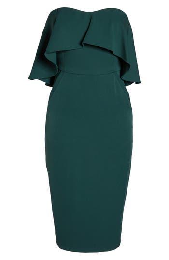 Chelsea28 Ruffle Stretch Crepe Sheath Dress, Green