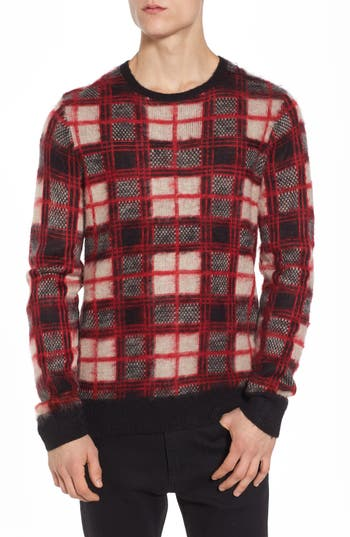 The Rail Fuzzy Plaid Sweater, Red