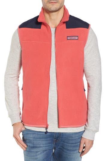 Men's Vineyard Vines 'Shep' Fleece Zip Vest, Size X-Small - Red