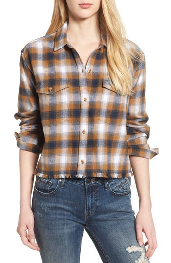 Obey Cassius Crop Flannel Shirt, Brown