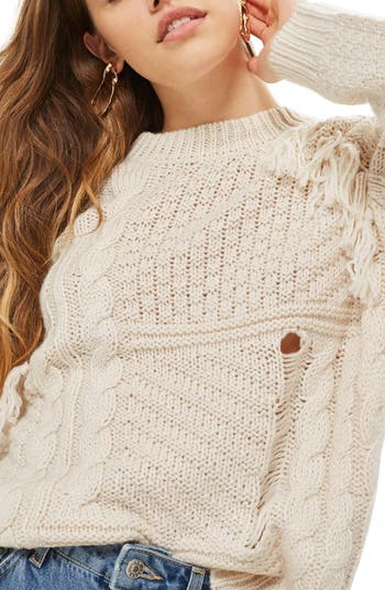 Women's Topshop Distressed Fringe Cable Knit Sweater at NORDSTROM.com
