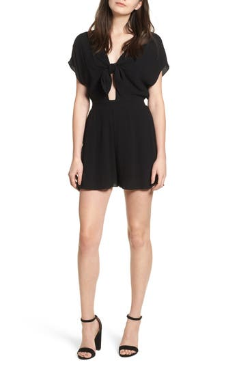 Women's Soprano Knotted Romper, Size X-Small - Black