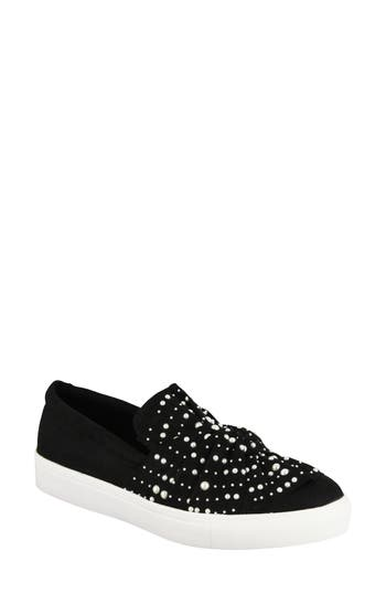 Mia Aretha Embellished Slip-On Sneaker, Black