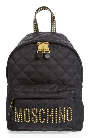 Moschino Studded Logo Quilted Nylon Backpack - Black