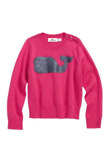 Toddler Girl's Vineyard Vines Sequin Whale Crewneck Sweater, Size 2T - Pink
