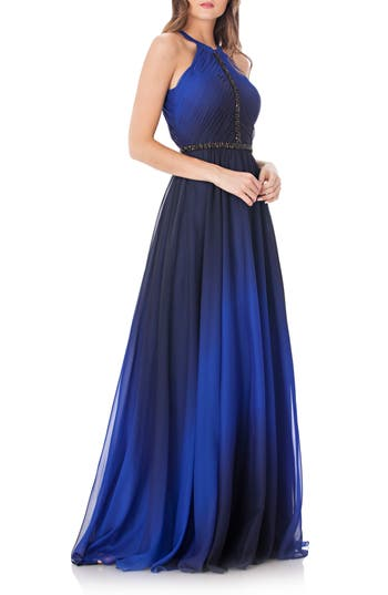 Carmen Marc Valvo Infusion Ombre Halter Neck A-Line Gown, Blue