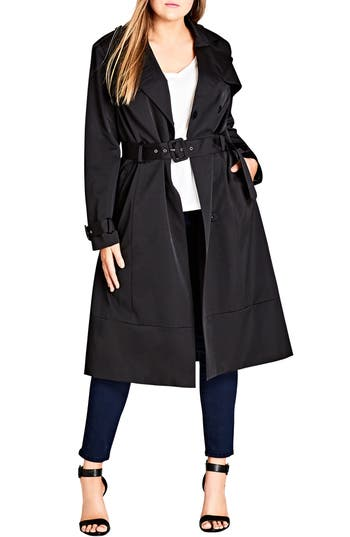 Plus Size City Chic Classic Trench Coat, Black