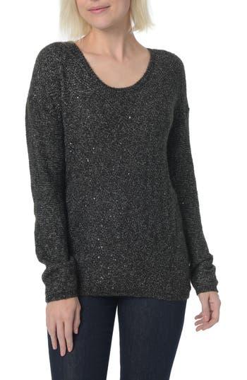 Women's Nydj Sequin Scoop Neck Sweater, Size X-Small - Black