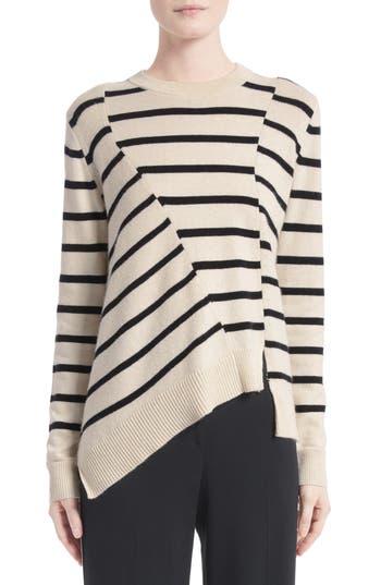 Women's Proenza Schouler Cotton & Cashmere Asymmetrical Stripe Sweater, Size X-Small - White