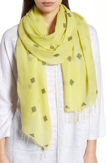 Women's Eileen Fisher Diamond Weave Organic Cotton Scarf, Size One Size - Green