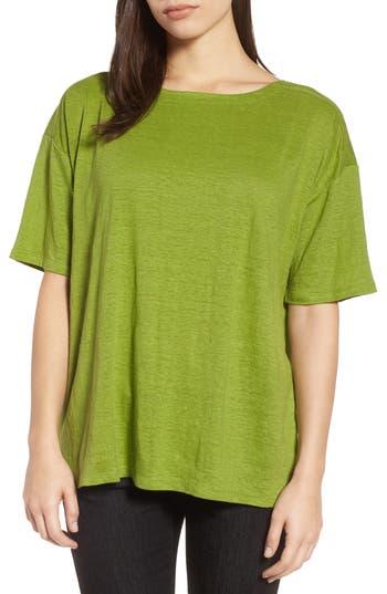 Women's Eileen Fisher Slouchy Organic Linen Top, Size XX-Small - Green