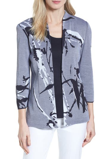 Ming Wang Abstract Jacquard Jacket, Blue