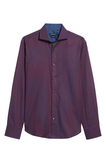 Men's Bugatchi Shaped Fit Stripe Sport Shirt, Size Small - Red