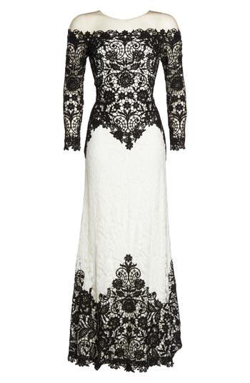 Tadashi Shoji Illusion Neck Two-Tone Lace Gown, Black