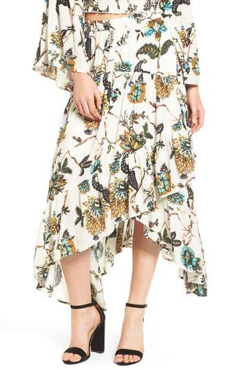 Bp. Asymmetrical Ruffle Hem Skirt, Ivory