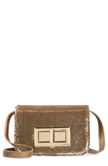 Street Level Sequin Flap Crossbody Bag - Metallic
