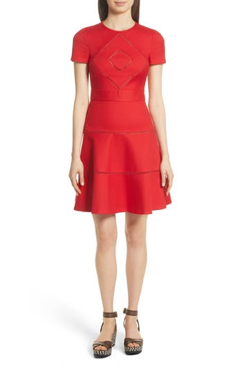 Red Valentino Open Stripe Fit & Flare Dress, US / 42 IT - Red
