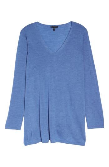Plus Size Eileen Fisher Merino Wool Tunic Sweater, Blue