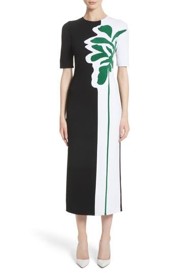Oscar De La Renta Intarsia Leaf Print Dress, Black