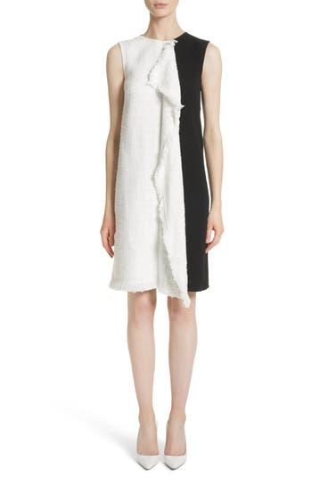 Oscar De La Renta Cascade Tweed Shift Dress, White