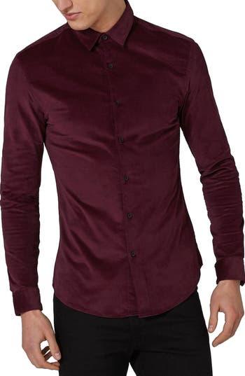 Topman Muscle Fit Corduroy Shirt, Burgundy