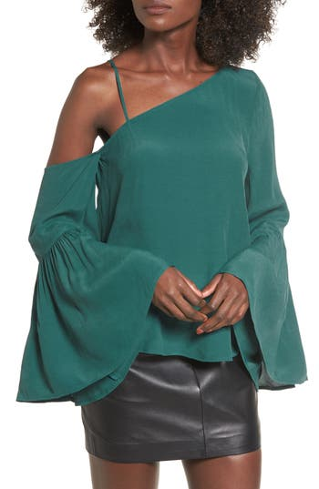 Women's Leith One-Shoulder Bell Sleeve Top, Size X-Small - Green