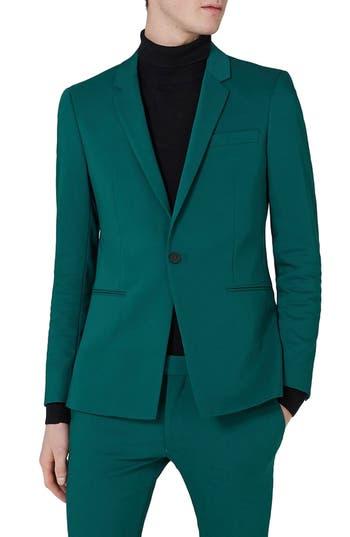 Men's Topman Skinny Fit Suit Jacket, Size 34 32 - Green