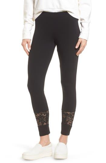 Hue Lace Block Skimmer Leggings, Black