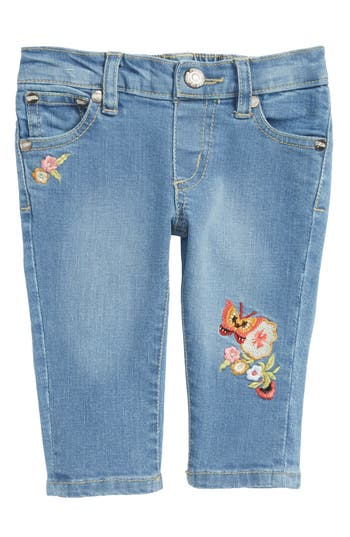 Infant Girl's Peek Taylor Embroidered Jeans, Size S (3-6m) - Blue