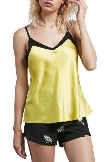 Women's Volcom It's Happening Satin Camisole, Size X-Small - Yellow