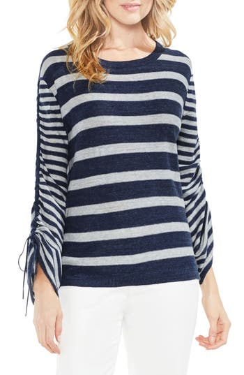 Women's Vince Camuto Drawstring Sleeve Stripe Sweater, Size XX-Small - Blue