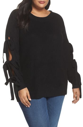 Plus Size Women's Soprano Bow Sleeve Sweater, Size 1X - Black