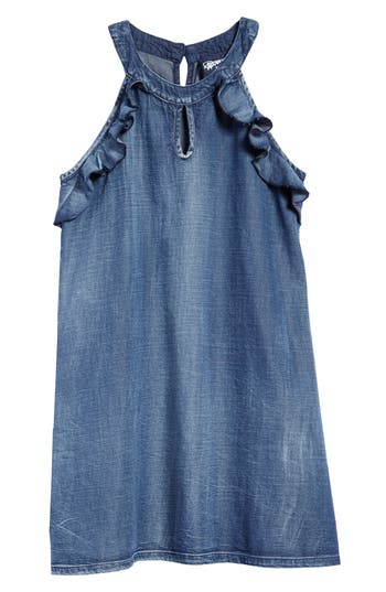 Girl's Flowers By Zoe Ruffle Shift Dress, Size S (7) - Blue