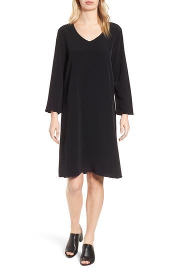 Eileen Fisher V-Neck Shift Dress, Black