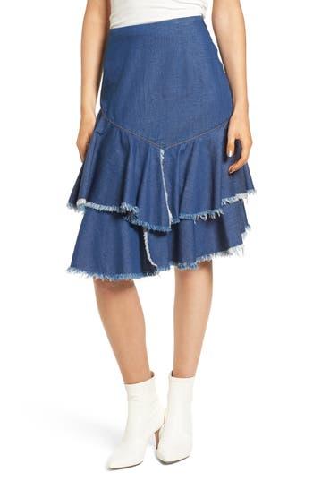 Bp. Tiered Denim Raw Hem Skirt, Blue