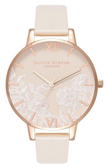 Women's Olivia Burton Lace Detail Faux Leather Strap Watch, 38Mm