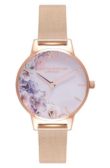 Olivia Burton Watercolour Florals Mesh Strap Watch, 30mm
