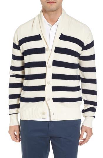 Peter Millar Crown Cool Sailor Stripe Merino Wool & Linen Cardigan, Blue